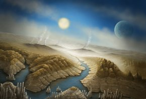 An Artist's concept of the surface of the newfound exoplanet Kepler-452b, a planet about 60 percent wider than Earth that lies 1,400 light-years away. Kepler-452b is likely rocky, and it orbits its sunlike star at the same distance Earth orbits the sun.