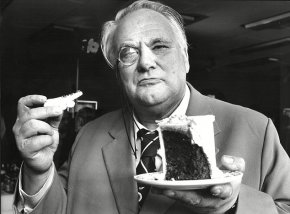 Celebrating a continuous 25-year run of the Sky at Night in 1957 with a piece of cake. To this day he still gets hundreds of letters of fan mail