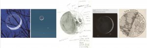 Moon sketches by (left to right) an unknown artist, Carlos Hernandez, Deirdre Kelleghan, Erika Rix, and Johann Georg Locher. Rix and Kelleghan are co-authors, along with Richard Handy, Thomas McCague, and Sally Russell, of the 2011 book Sketching the Moon: An Astronomical Artist's Guide. Hernandez is a contributor to that book