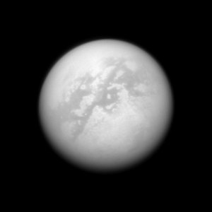 NASA's Cassini spacecraft peers through the murk of Titan's thick atmosphere in this view, taken with Cassini's narrow-angle camera on Sept. 25, 2008.