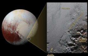 This dramatic image from NASA's New Horizons spacecraft shows the dark, rugged highlands known as Krun Macula (lower right), which border a section of Pluto's icy plains. Image credit: NASA / Johns Hopkins University Applied Physics Laboratory / Southwest Research Institute.